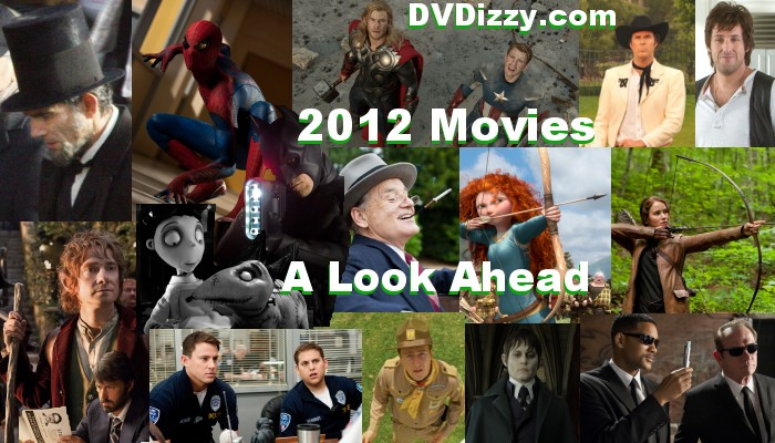 2012 movies include The Avengers, The Dark Knight Rises, Brave, Lincoln, The Hobbit, The Hunger Games, The Amazing Spider-Man, Men in Black 3, Frankenweenie, The Dark Shadows, and 21 Jump Street.