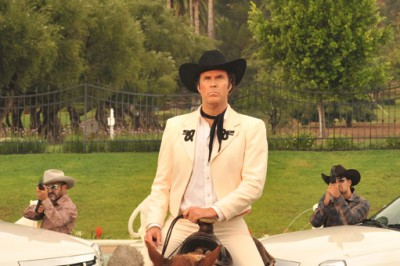 Armando Alvarez (Will Ferrell) rides a horse to a gun fight.