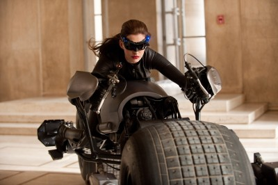"Catwoman (Anne Hathaway) goes for a ride in ""The Dark Knight Rises."