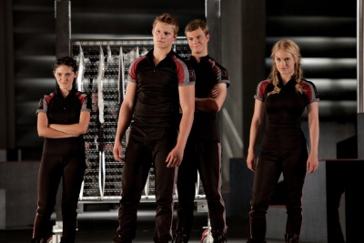 "Clove (Isabelle Fuhrman), Cato (Alexander Ludwig), Marvel (Jack Quaid) and Glimmer (Leven Rambin) in ""The Hunger Games."""