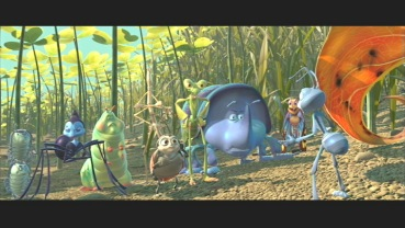 Flik and the 'warriors' in 2.35:1 anamorphic widescreen.