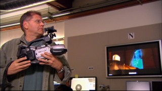 "Director Robert Zemeckis moves the camera to frame the animation of his 3D computerized world in ""Capturing Dickens."""