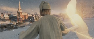 Motion capture allows Scrooge to dazzlingly fly over his snowy past in the fiery company of the Ghost of Christmas Past.