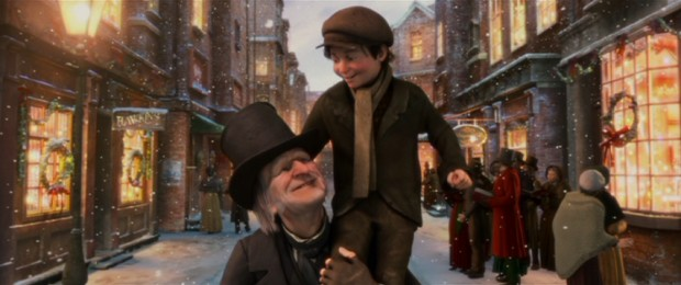 "In the film's well-deserved redemptive finale, Scrooge (Jim Carrey) hoists crippled optimist Tiny Tim (Gary Oldman) on his shoulder for the famed ""God bless us, everyone!"" proclamation."