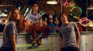 Hey now, hey now, don't dream it's over. Crowded House's most famous song plays as Em (Kristen Stewart), Joel (Martin Starr), and James (Jesse Eisenberg) look up at the Fourth of July fireworks in the sky.