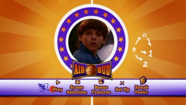 Kevin Zegers gets a moment in the center of the animated main menu montage for the Special Edition DVD given to his first of four Air Bud movie appearances. Notice the play calls for two humans and one dog.