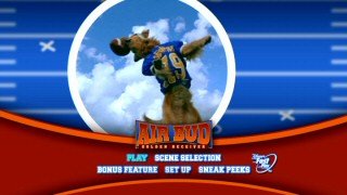 "On the DVD's main menu, Air Bud shows that his basketball nickname also applies to his football skills, at least when shot from a low angle and followed by the clever subtitle ""Golden Receiver."""