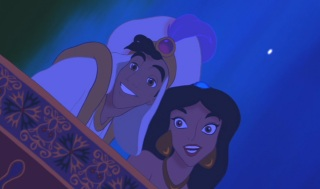 Aladdin and Jasmine like the reflection they see during their magic carpet ride.