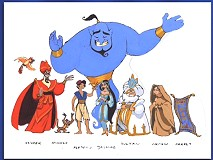 A model sheet of 'Aladdin' characters from the galleries.