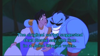 The Pop Up Fun Facts track reveals that Genie almost delivered this line as John Wayne instead of Jack Nicholson.