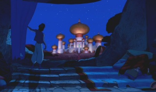 Aladdin's home has a great view of the Sultan's palace.