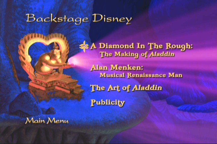 Disc 2 Backstage Disney Menu