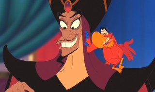 The loathsome Jafar and his obnoxious parrot Iago.