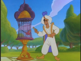 Aladdin decides it's best to keep Iago under lock-and-key.