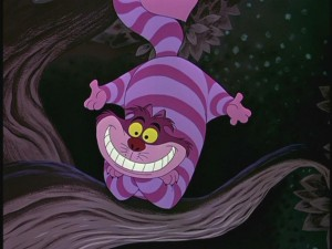 The Cheshire Cat acts as a surreal and coy guide for the bewildered Alice.
