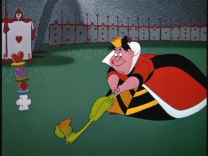 The Queen of Hearts aims her first shot in a rigged croquet game while her card soldiers look on.