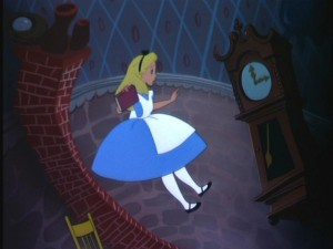 Surprised at how ornately decorated her surroundings are, Alice slowly falls down the rabbit hole.