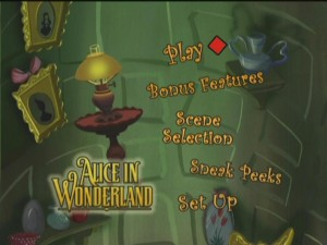 Disc One's main menu takes place inside the rabbit hole with background objects slowly floating up and down.