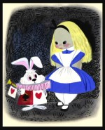 This vivid concept art of Alice and the White Rabbit by Mary Blair, seen in Disc 2's art gallery, was later turned into a mini maquette set by Electric Tiki.