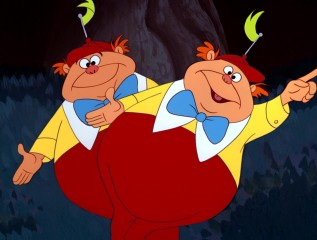 Whether from Alice's point of view or in the breaking of the fourth wall, roly-poly twins Tweedledee and Tweedledum certainly make an impression.