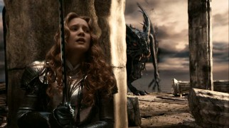 An armored Alice (Mia Wasikowska) must be brave and slay the dragon-like Jabberwocky as prophesized.