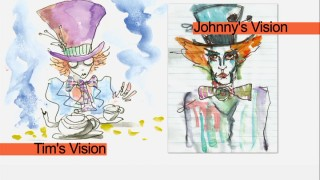 Tim Burton and Johnny Depp had different visions for The Mad Hatter, as their concept art shows in the character's featurette.