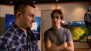 "Director Ben Gluck coaches a blurrily-dressed Justin Long in ""Making of 'Alpha and Omega' Part 2."""