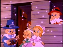 Chipmunks and Chipettes portray American pilgrims who brave the snow... with an abacus.