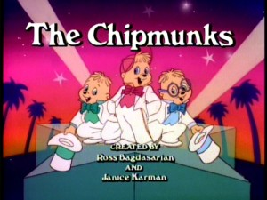 "All of the set's standard episodes come from the last two seasons of NBC's 1980s cartoon, meaning we're repeatedly to this title logo of ""The Chipmunks."""