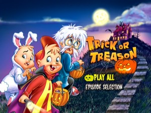 Though Trick or Treason's menu art overstresses the Halloween aspect largely downplayed, it redeems itself with the magic of animated bats. (Look closely to find them.)