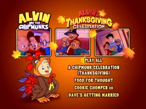 Alvin's Thanksgiving Celebration spares us additional pages by placing the episode line-up right there on the main menu.
