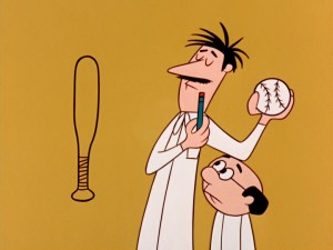 "Great inventor Clyde Crashcup introduces his whispering assistant Leonardo us to a game he calls ""basic ball."""