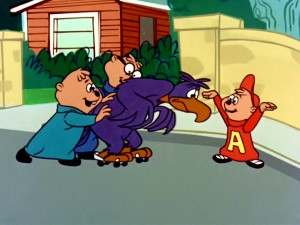 On roller skates, Stanley the fearful purple eagle gets a visual reminder and a push from his friendly neighborhood Chipmunks.