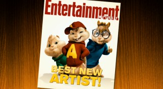Alvin, Simon, and Theodore claim the cover of Entertainment Weekly in their respective red, blue, and green threads.