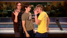 "Matthew Gray Gubler, Justin Long, and Jesse McCartney goof around pretending to get into Chipmunk character in ""The Dudes Behind the Munks!"""