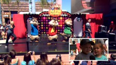 Three costumed Chipmunks and two human performers light up the Chula Vista Mall stage while young fans sound off in picture-in-picture.