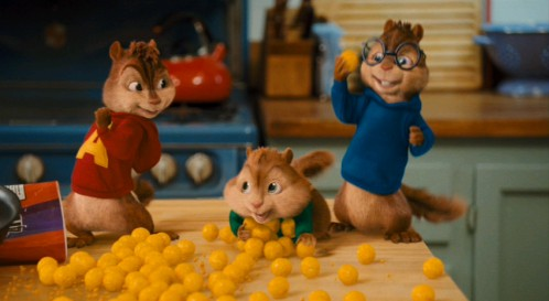 """Cheese puff"" isn't a bad description for The Squeakquel, but it is a bad subject for new lyrics to ""Stayin' Alive."" Nevertheless, Alvin does indeed dedicate the Bee Gees classic to his favorite snack."