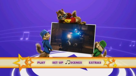 Alvin and his brothers are thugged out in the 16x9 DVD main menu, which closely resembles the Blu-ray menu.