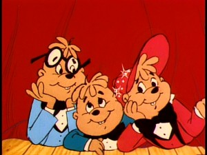 "Simon, Theodore, and Alvin share a moment near the end of the ""Alvin and the Chipmunks"" opening title sequence."