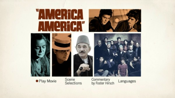 "The main menu for Warner Home Video's ""America America"" DVD uses the film's poster font and a number of colorized and stylized cast photos."