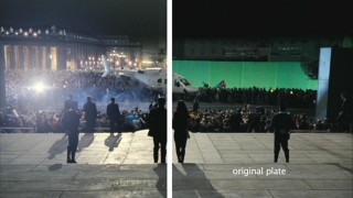 """Rome Was Not Built in a Day"" shows a split screen between the green-screened set and the final film composite."