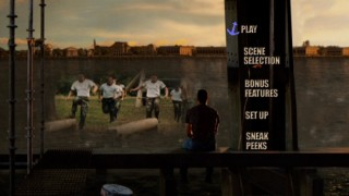 Jake looks out on the river and sees Naval Academy midshipmen in the animated main menu.