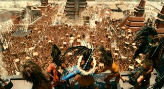 "This is their view: massive crowds turn out among impressive architecture to watch prisoners sacrificed to the gods in the most ambitious sequence of Mel Gibson's ""Apocalypto."""