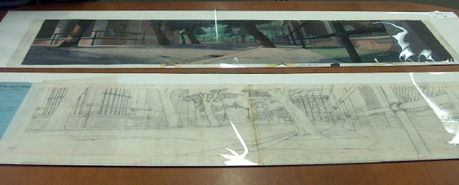 "This panoramic scenery in pencil and full color became a background in ""Lady and the Tramp"", the first animated CinemaScope feature."