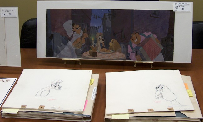 "The individual elements and final version of this classic ""Lady and the Tramp"" scene."