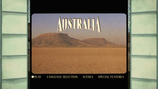 If you're still down with DVD, you'll see this main menu -- in which some of Baz Luhrmann's more expansive location shots are played on a computer recreation of the theater from the movie.