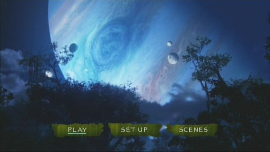 The planet that Pandora orbits, Polyphemus, is shown with additional moons and stars surrounding it on Avatar's main menu.
