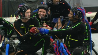 In a scene that didn't make it as far as animation, Jake (Sam Worthington) and Tsu'tey (Laz Alonso) engage in a drinking contest, here shown in motion capture performance.