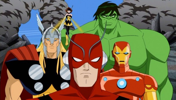 Clockwise from left: Thor, Wasp, Hulk, Iron Man, and Ant-Man stand together in solidarity as the newly-assembled Avengers.