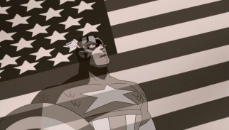 Patriotic World War II hero Captain America is introduced in a black & white newsreel.
